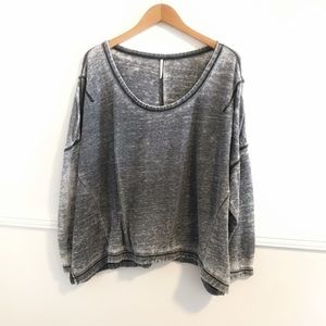 Free People Medium Gray Over sized Burn out top
